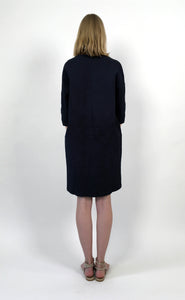 Cotton Piqué Navy Dress