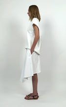 Load image into Gallery viewer, Off White Cotton Piqué Asymmetric Skirt