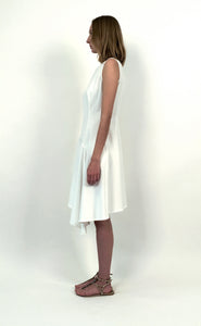 Mixed-Cotton Asymmetric Stretch Dress