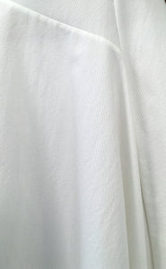 White Mixed-Cotton Asymmetric Stretch Dress