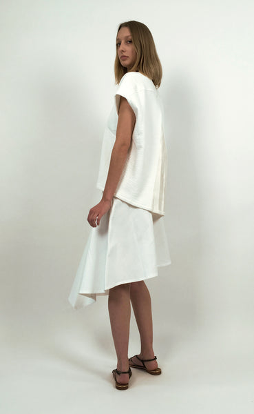 Off White Cotton Piqué Asymmetric Skirt