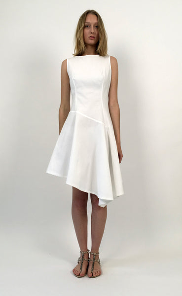 Off-white Cotton Piqué Asymmetric Dress
