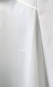 White Mixed-Cotton Asymmetric Stretch Skirt