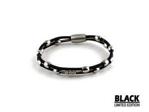 Limited Edition Black Daniel Guitar String Bass String Bracelet - Retuned by Christina - Used Recycled Repurposed guitar string jewelry
