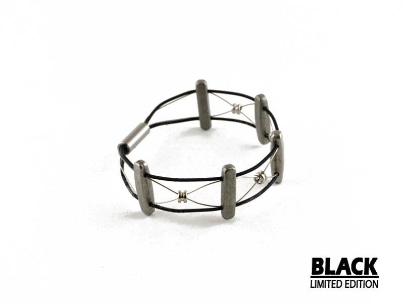 Limited Edition Black Emily Guitar String Guitar String Bracelet - Retuned by Christina - Used Recycled Repurposed guitar string jewelry