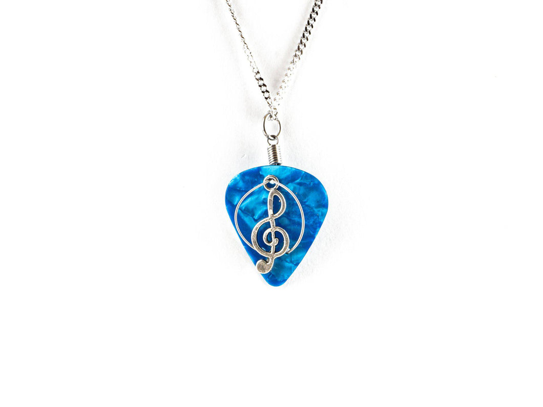 Treble Clef Guitar Pick Necklace Guitar String Necklace - Retuned by Christina - Used Recycled Repurposed guitar string jewelry