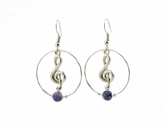 Treble Clef Hoops Guitar String Earrings - Retuned Jewelry - Used Recycled Repurposed guitar string jewelry