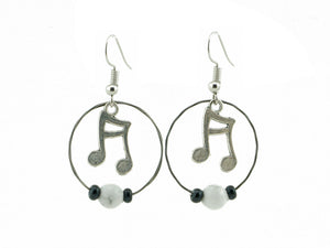 Music Note Earrings Guitar String Earrings - Retuned by Christina - Used Recycled Repurposed guitar string jewelry
