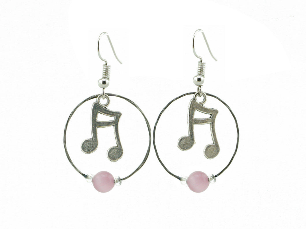Music Note Earrings Guitar String Earrings - Retuned Jewelry - Used Recycled Repurposed guitar string jewelry