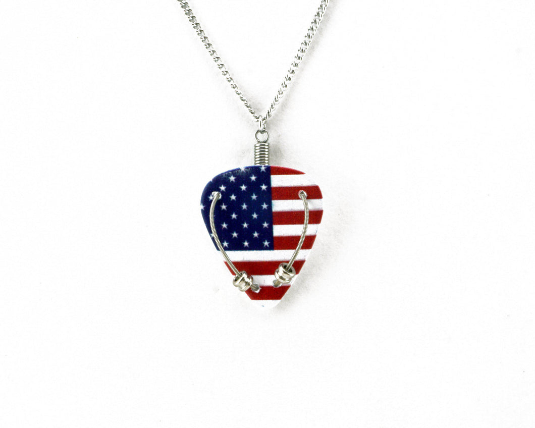 Red, White and Blue Guitar Pick Necklace - Retuned Jewelry