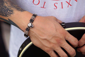 Joseph Guitar String Bass String Bracelet - Retuned Jewelry - Used Recycled Repurposed guitar string jewelry