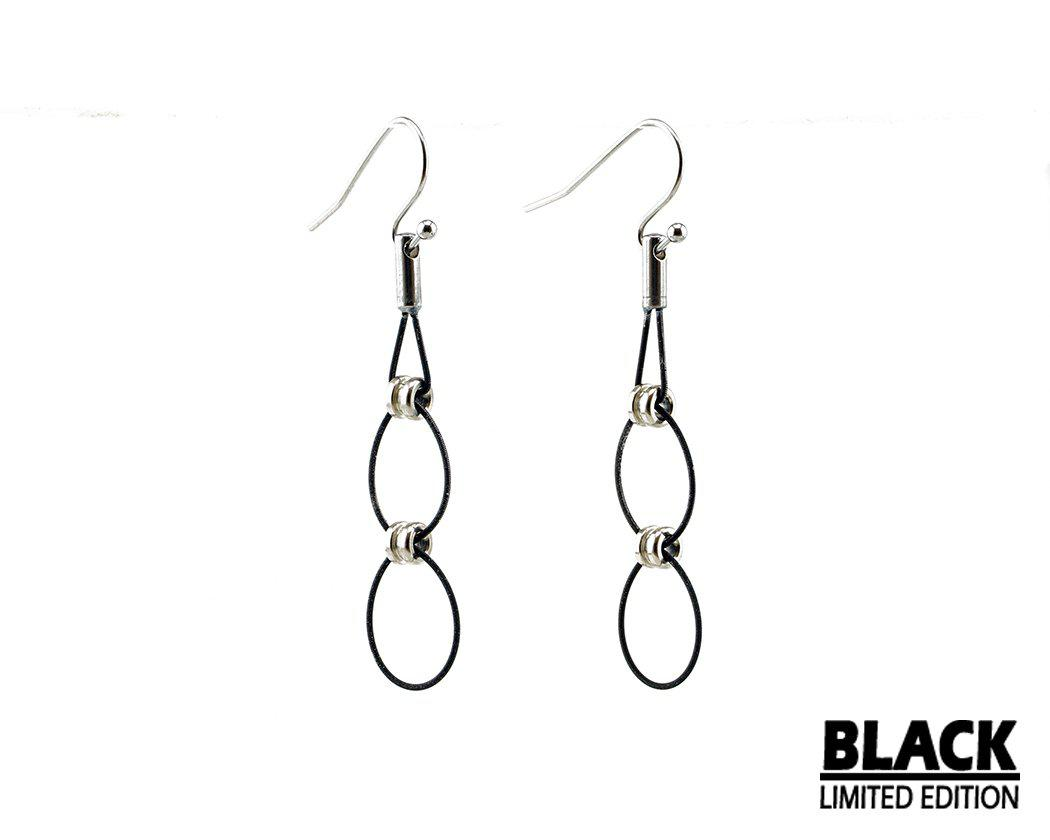 Limited Edition Black Double Hoop Drop Earrings - Retuned Jewelry