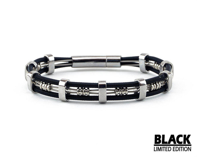 Limited Edition Black Brandon-Bass String Bracelet-Retuned Jewelry