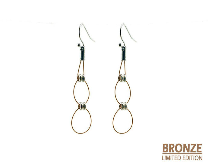 Limited Edition Bronze Double Hoop Drop Earrings Guitar String Earrings - Retuned Jewelry - Used Recycled Repurposed guitar string jewelry