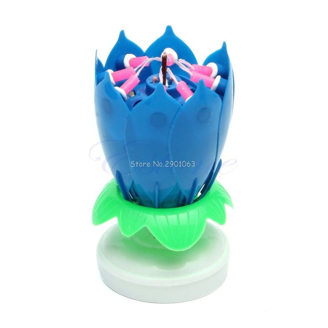 Musical Romantic Lotus Candles Happy Birthday Flower Rotating Party