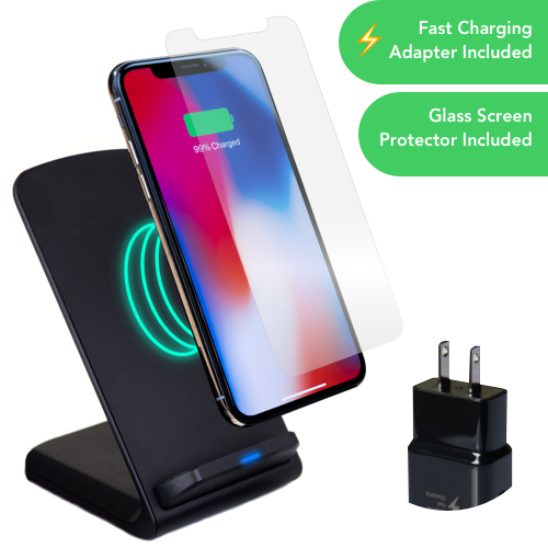 iPhone Wireless Charger + Free Tempered Glass Bundle