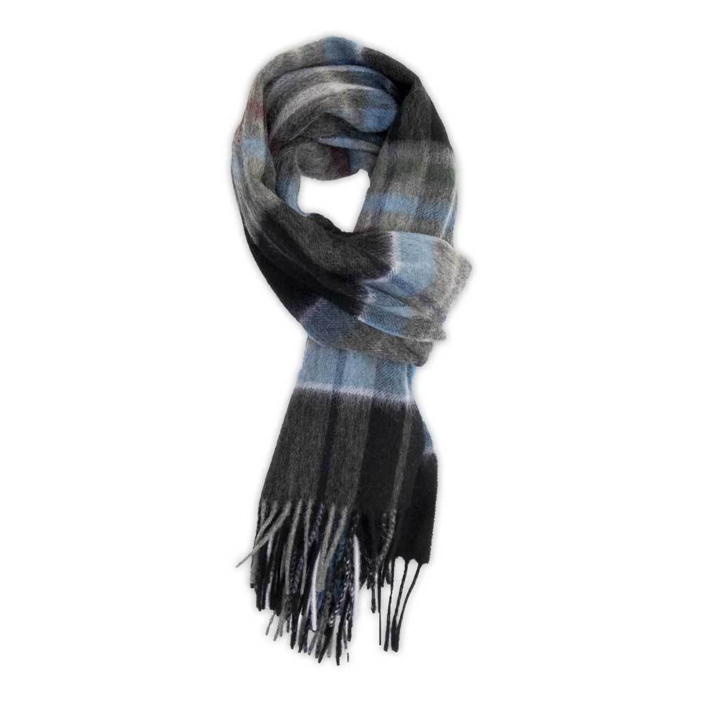 Black Plaid Wool Scarf