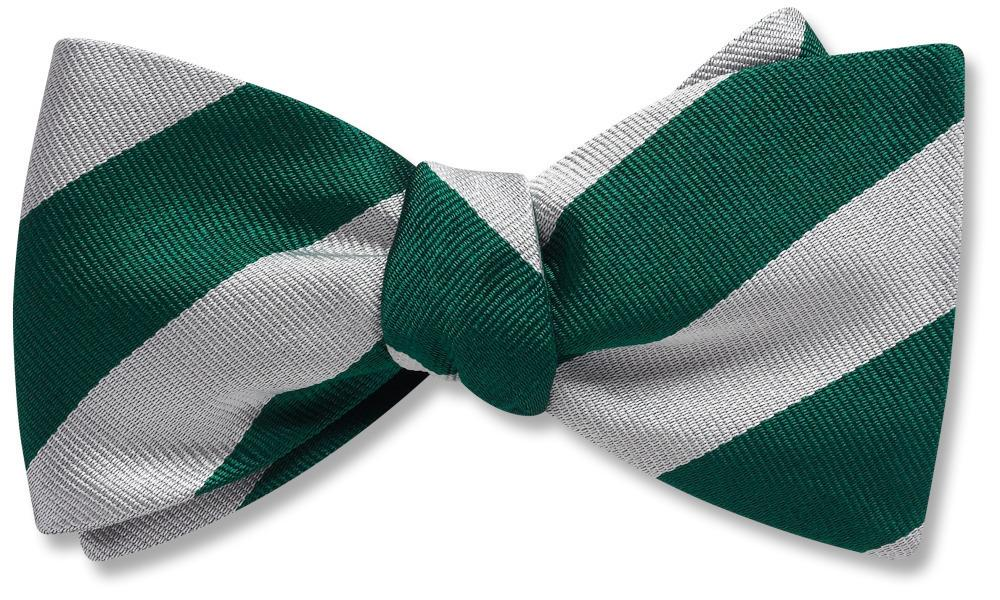 Collegiate Green And Silver - bow ties