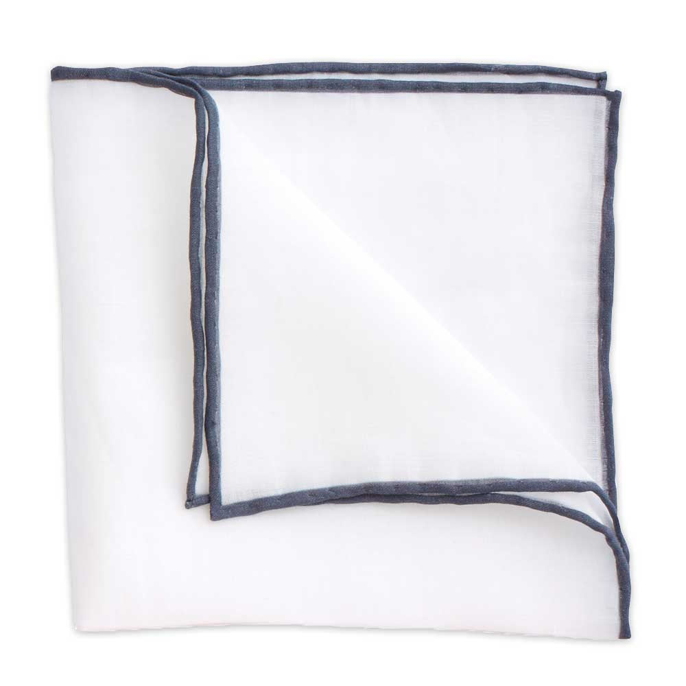 White Linen Pocket Square with Charcoal Trim