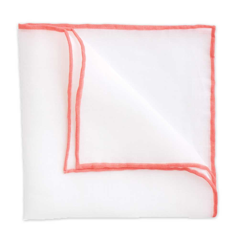 White Linen Pocket Square with Coral Trim