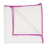White Linen Pocket Square with Fuchsia Trim