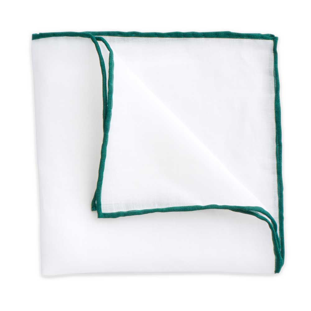 White Linen Pocket Square with Forest Green Trim