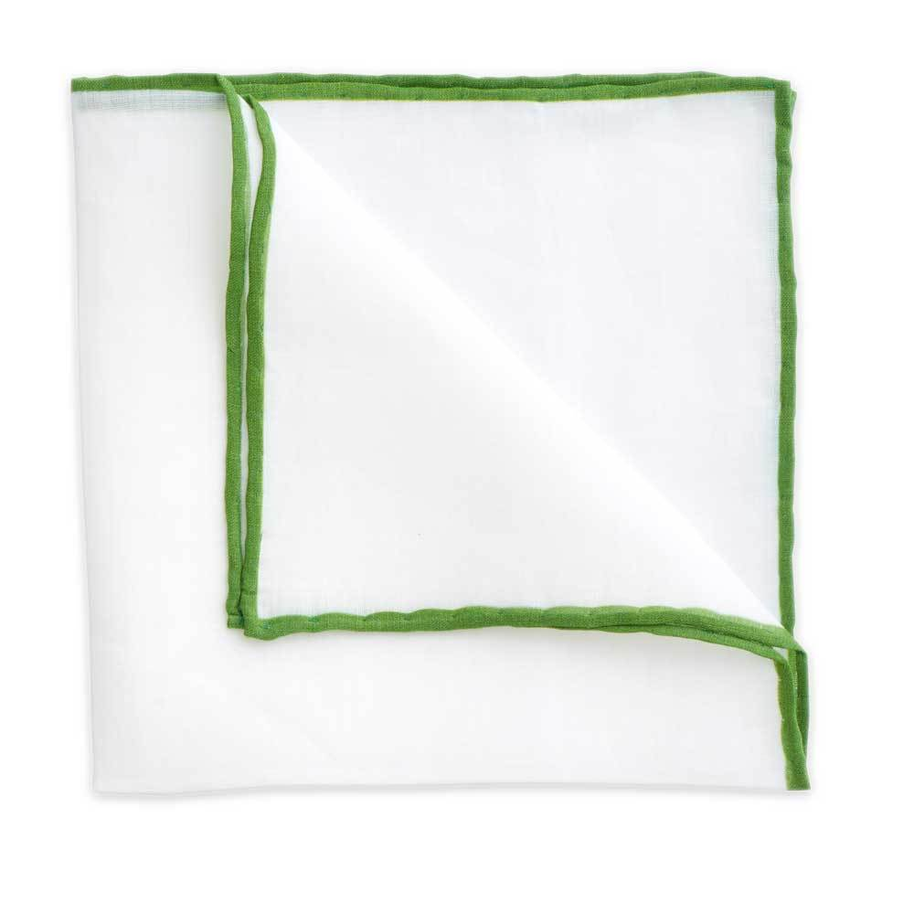 White Linen Pocket Square with Green Trim