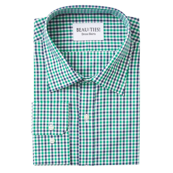 Green Plaid Gingham Dress Shirt