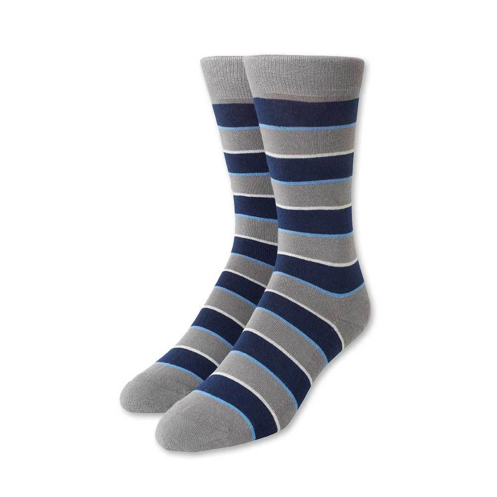 Grey and Blue Stripe Socks