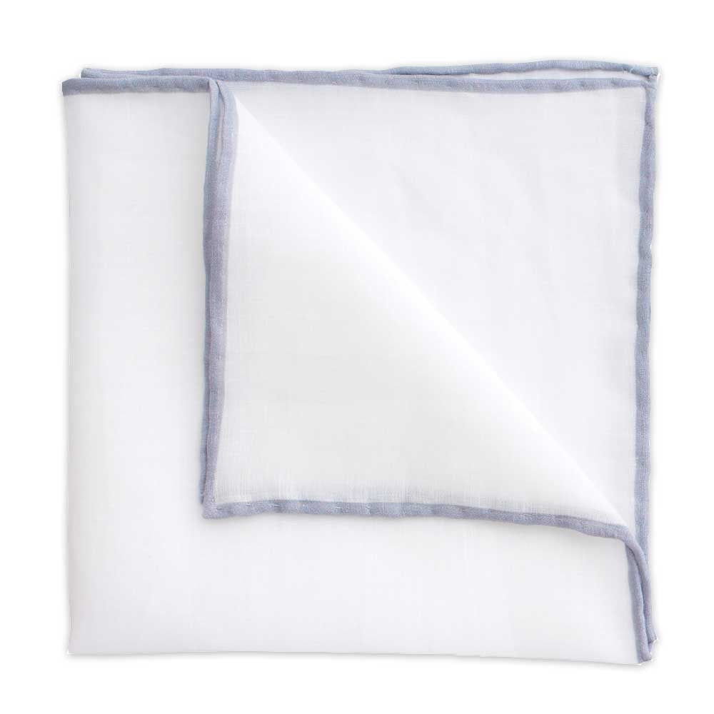 White Linen Pocket Square with Grey Trim