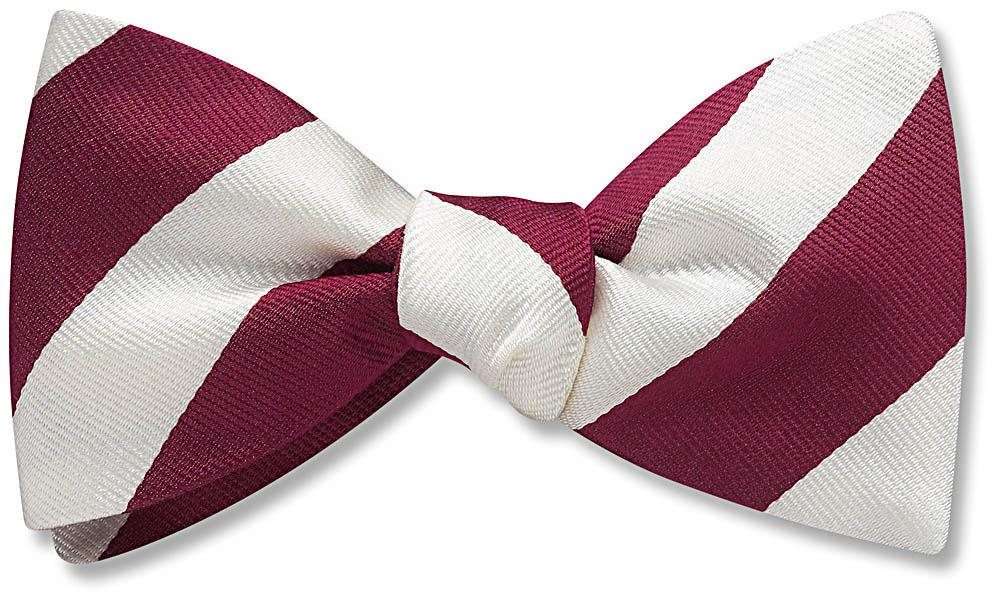 Collegiate Maroon And White - bow ties