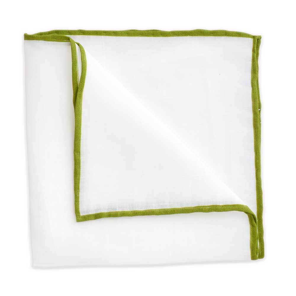 White Linen Pocket Square with Moss Green Trim