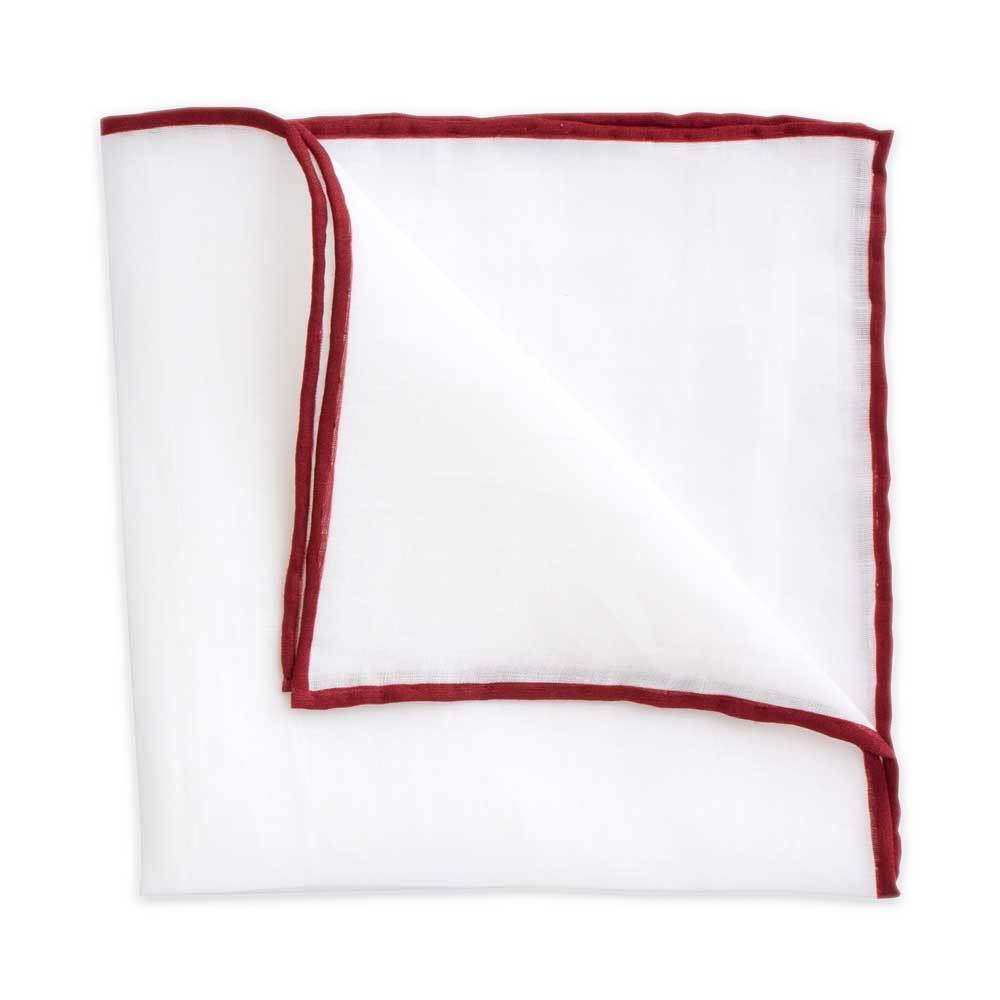 White Linen Pocket Square with Maroon Trim