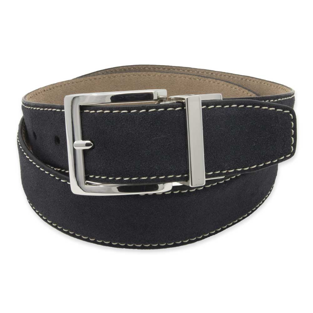 Navy/Tan Reversible Suede Belt