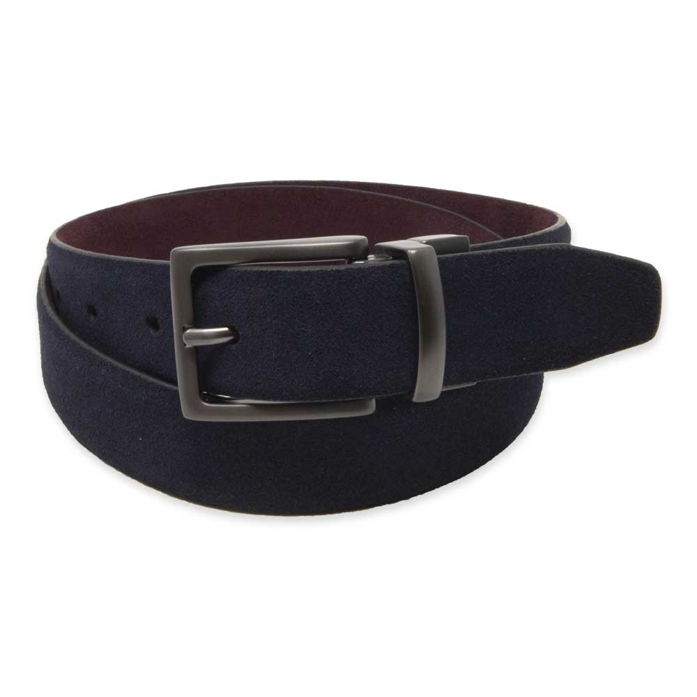 Navy/Wine Reversible Suede Belt