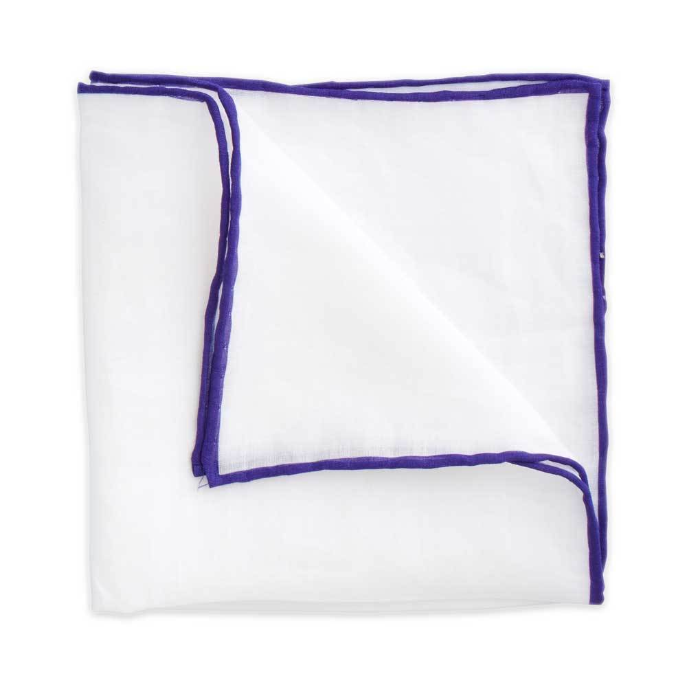 White Linen Pocket Square with Purple Trim