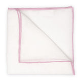White Linen Pocket Square with Pink Trim