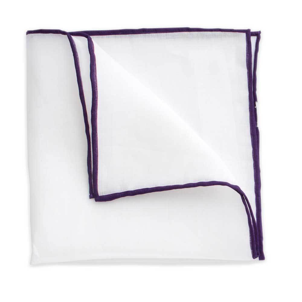 White Linen Pocket Square with Plum Trim