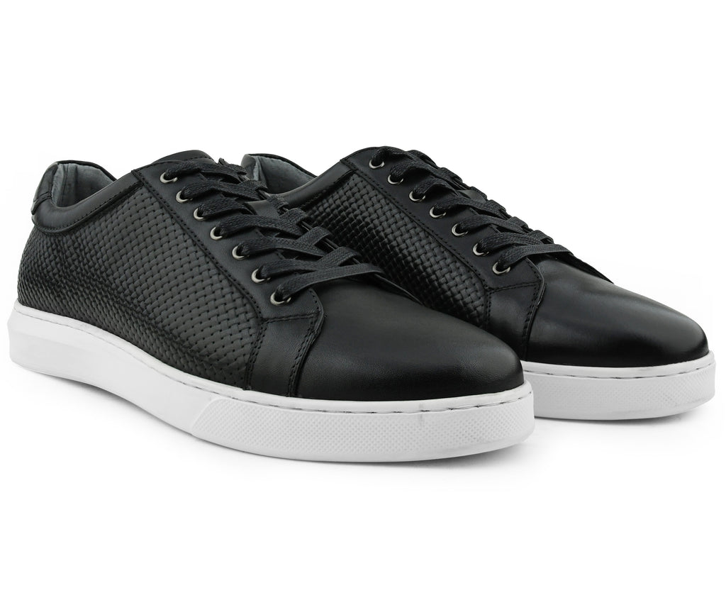 Pure Black Leather Sneaker