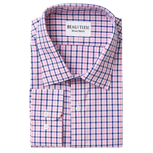 Pink Plaid Gingham Dress Shirt