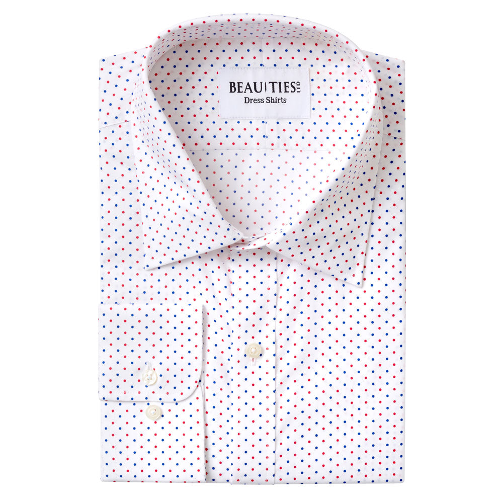 Red and Blue Dot Dress Shirt
