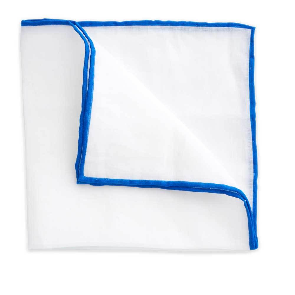 White Linen Pocket Square with Royal Blue Trim