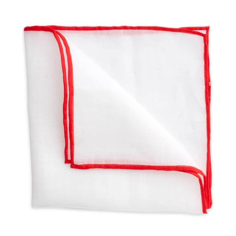 White Linen Pocket Square with Red Trim
