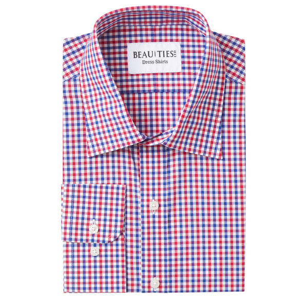 Red Plaid Gingham Dress Shirt