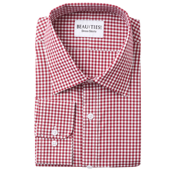 Wine Gingham Dress Shirt