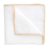 White Linen Pocket Square with Tan Trim