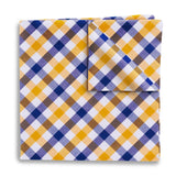 Visage Plaid Blue/Yellow Pocket Squares