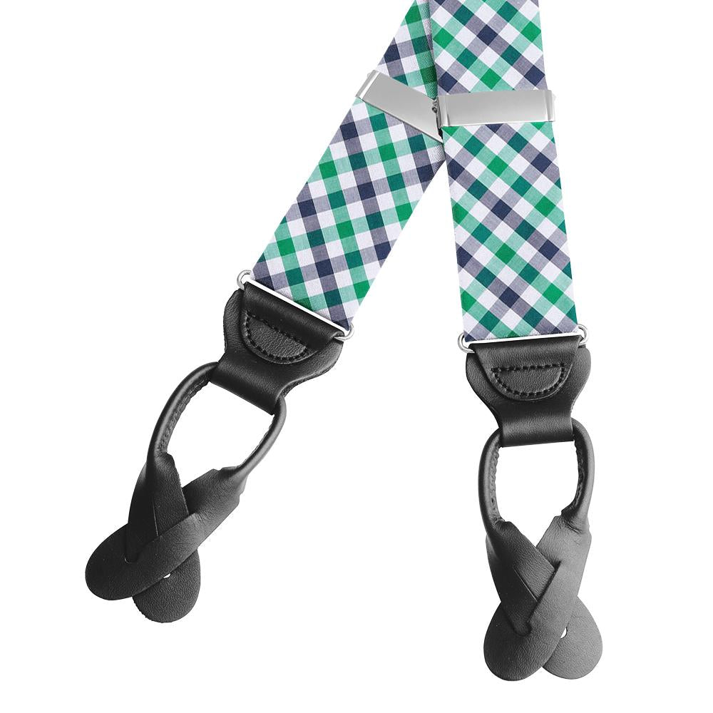 Visage Plaid Green/Navy Braces/Suspenders
