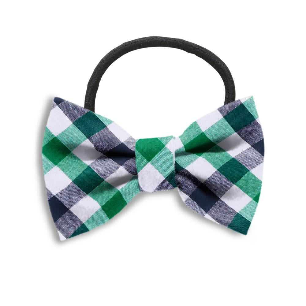 Visage Plaid Green/Navy Hair Bows