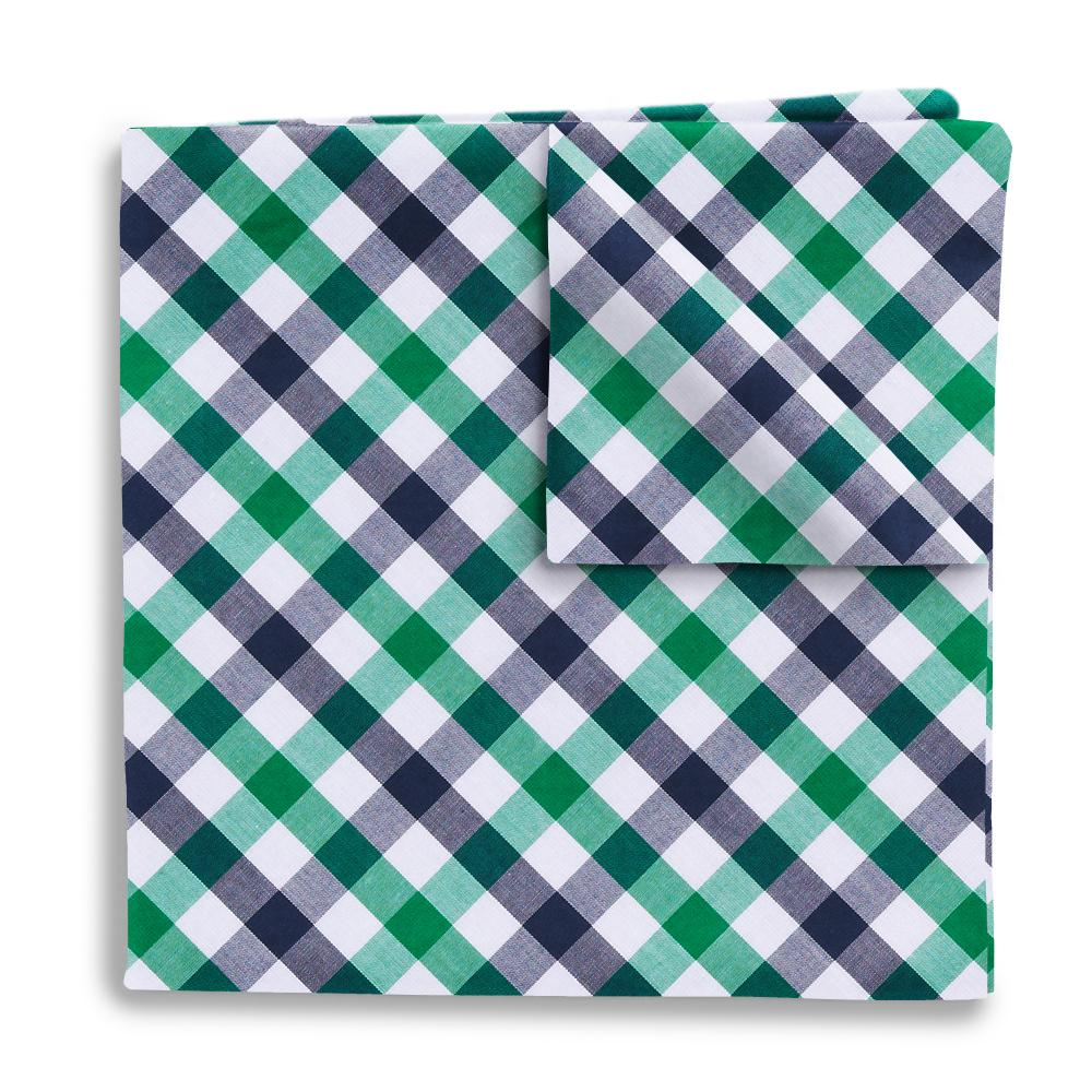 Visage Plaid Green/Navy Pocket Squares